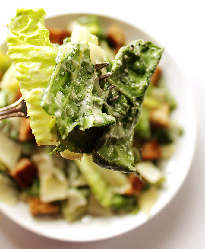 Easy Caesar Salad - With stove top gluten free croutons and an easy egg free dressing! A simple, classic, and delicious recipe! Gluten Free.