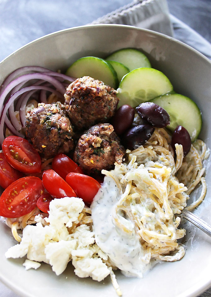 Gluten Free Gyro Bowls - Gluten Free spaghetti with tzatziki sauce, lamb meatballs and Greek veggies! Real food! LOVE this recipe! Gluten Free.
