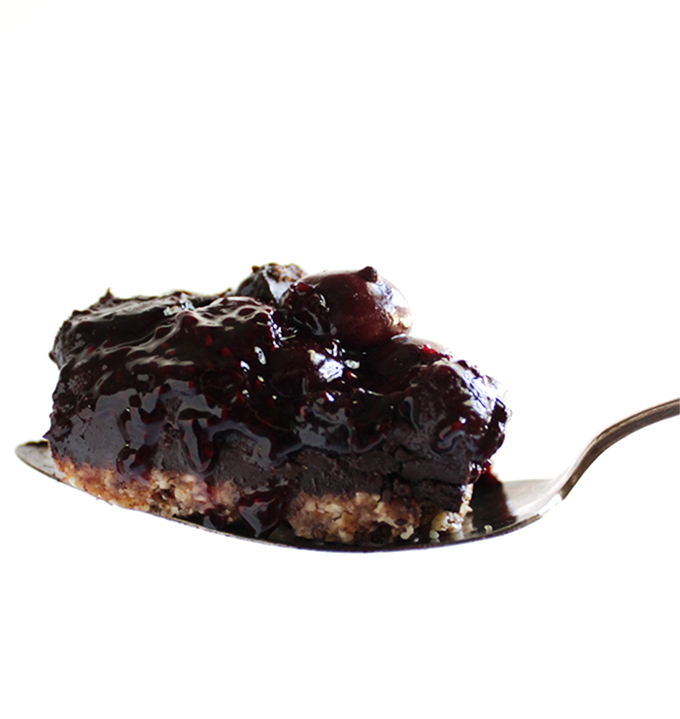 Gluten Free Chocolate Cherry Dessert Bars - A layer of crust, a layer of chocolate all topped with a layer of jam like cherries. This recipe uses frozen cherries so that these bars can be made during any season. We LOVE this dessert! Vegan/ gluten free/ refined sugar free.
