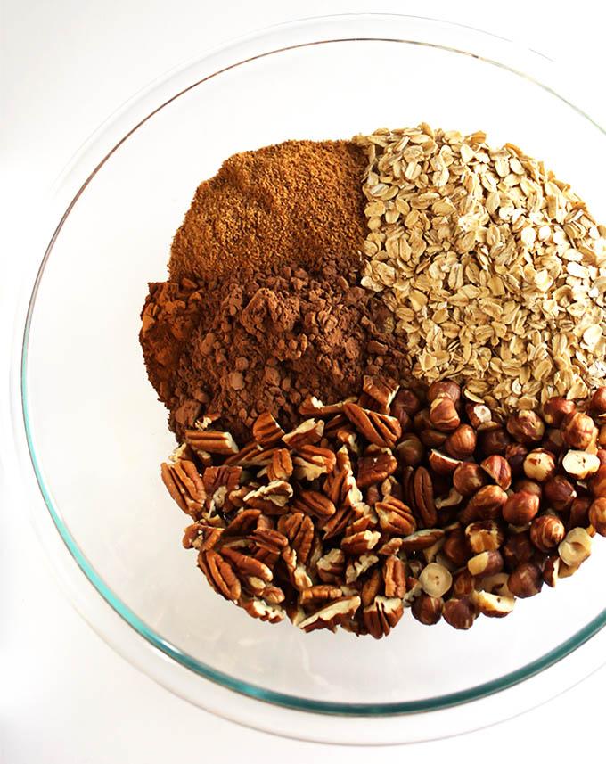 Ingredients for Crunchy Chocolate Hazelnut Granola. gluten free and refined sugar free.