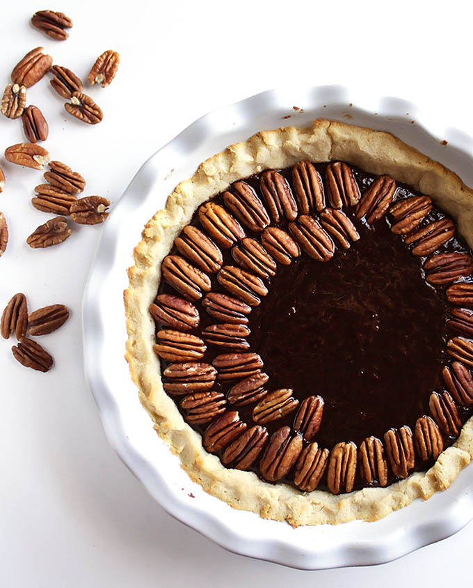 Gluten Free Chocolate Pecan Pie - The perfect recipe for the holidays! | robustrecipes.com