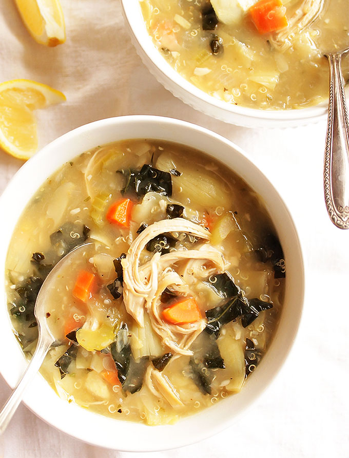16 Gluten Free Soups for When You're Sick - Lemon Artichoke Soup | robustrecipes.com