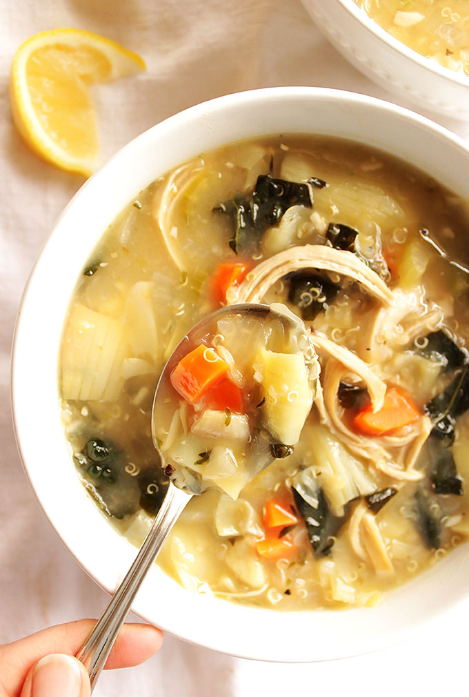 Lemon Artichoke Soup - Comforting and warming, hearty, yet light. This recipe is EASY to make and perfect for cold days. Gluten free/Dairy Free | robustrecipes.com