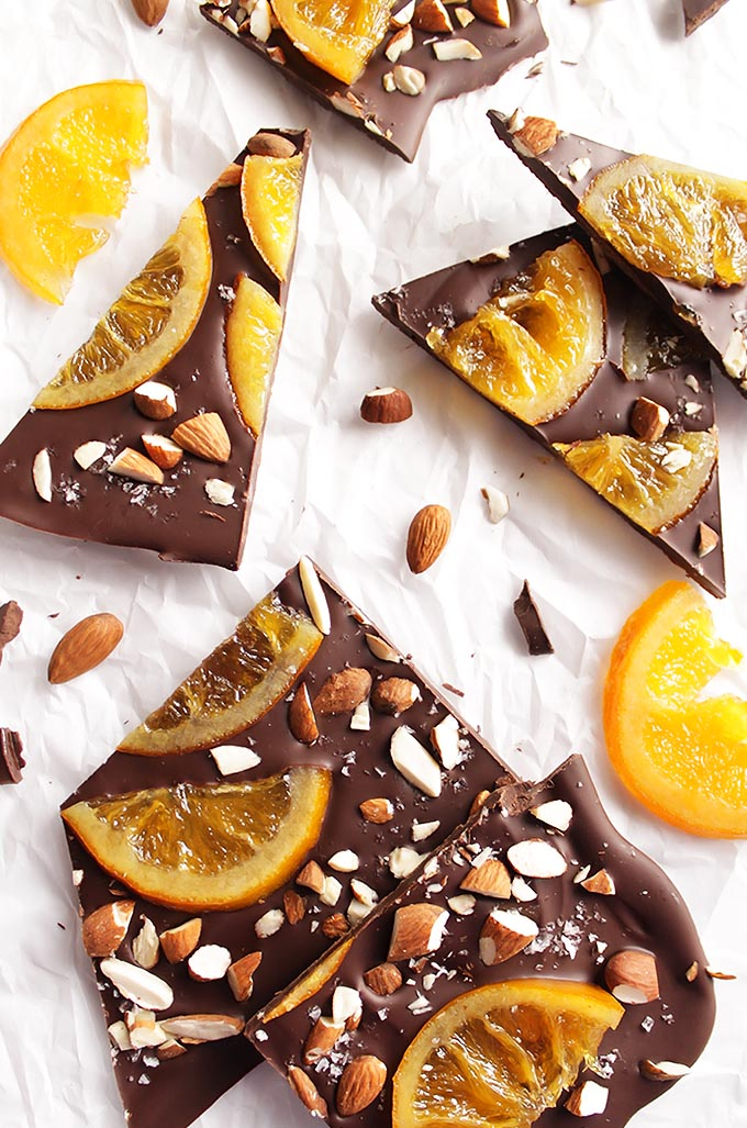 Dark Chocolate Bark with Candied Oranges - This recipe is great for a holiday treat or as an edible gift! So Delicious! Dark chocolate, candied oranges, almonds, and sea salt! Gluten Free | robustrecipes.com