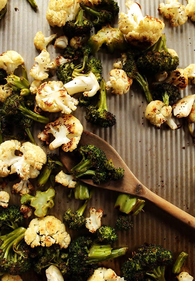 Roasted veggies for Roasted veggie salad with skinny jalapeno ranch dressing | robustrecipes.com