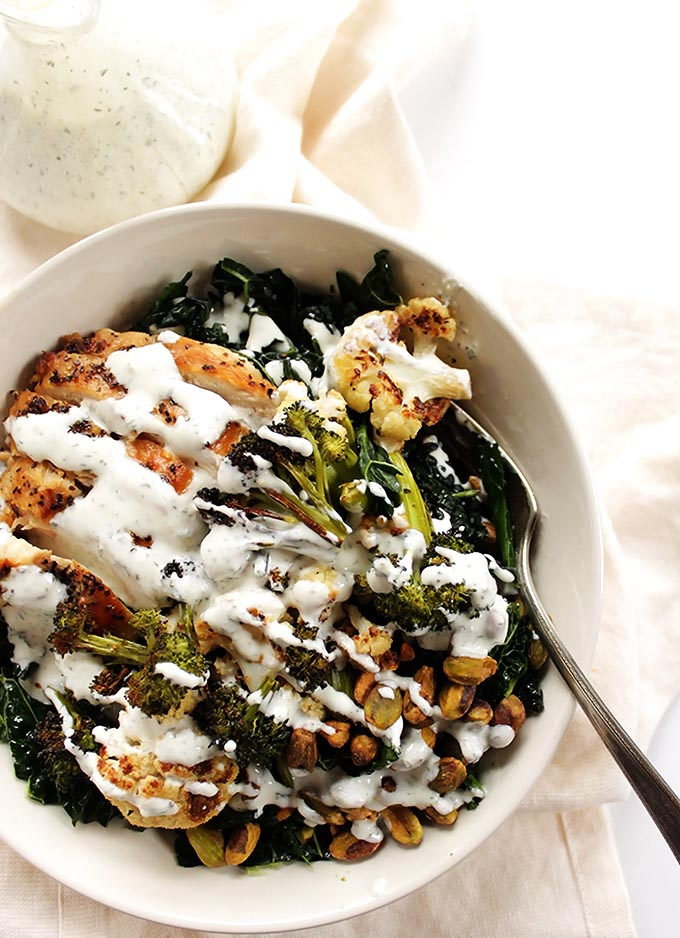 Roasted Veggie Salad with Skinny Jalapeno Ranch Dressing