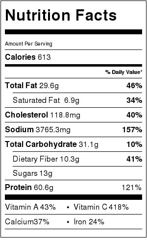 Nutrition facts for Roasted Veggie salad with skinny jalapeno ranch dressing.