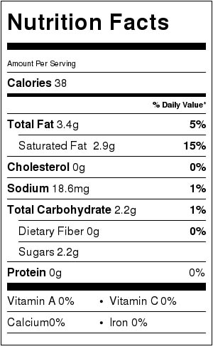 Vegan Cashew Frosting Nutrition Facts