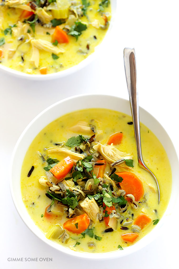 16 Gluten Free Soups for When You're Sick - Curried Chicken Wild Rice Soup | robustrecipes.com