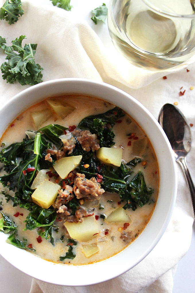 Dairy Free Zuppa Toscana Soup - Hearty, creamy, spicy! A healthier copycat version of Olive Garden's soup. This recipe is EASY to make, perfect for weeknight dinners! Dairy Free/Gluten Free | robustrecipes.com