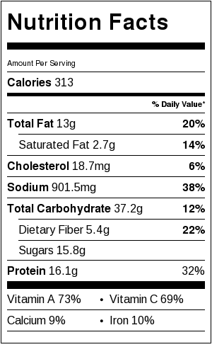 Thai Chicken Stuffed Sweet Potatoes with Peanut Sauce - Nutrition Facts