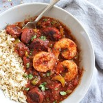Spicy Sausage and Shrimp Creole - Thick, spicy tomato-y sauce studded with crunchy celery and spicy andoullie sausage and tender shrimp. This recipe is EASY to make, only takes 40 minutes and serves 8 to 10 people. Perfect for meal prepping. This is one of my FAVE recipes!!! Gluten Free/Dairy Free | robustrecipes.com
