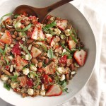 Strawberry Basil Quinoa Salad - great for summertime parties. It's a little sweet, a little savory and all of the summer-y goodness in one bowl - strawberries, fresh basil, mozzarella balls, toasted almonds! This recipe is easy to make, only 30 minutes! Gluten Free/Vegetarian | robustrecipes.com