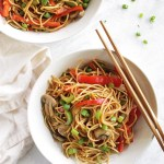Easy Gluten free lo mein that tastes just like what you get at a restaurant. Best part is this recipe only takes 25 minutes to make. (vegan) | robustrecipes.com