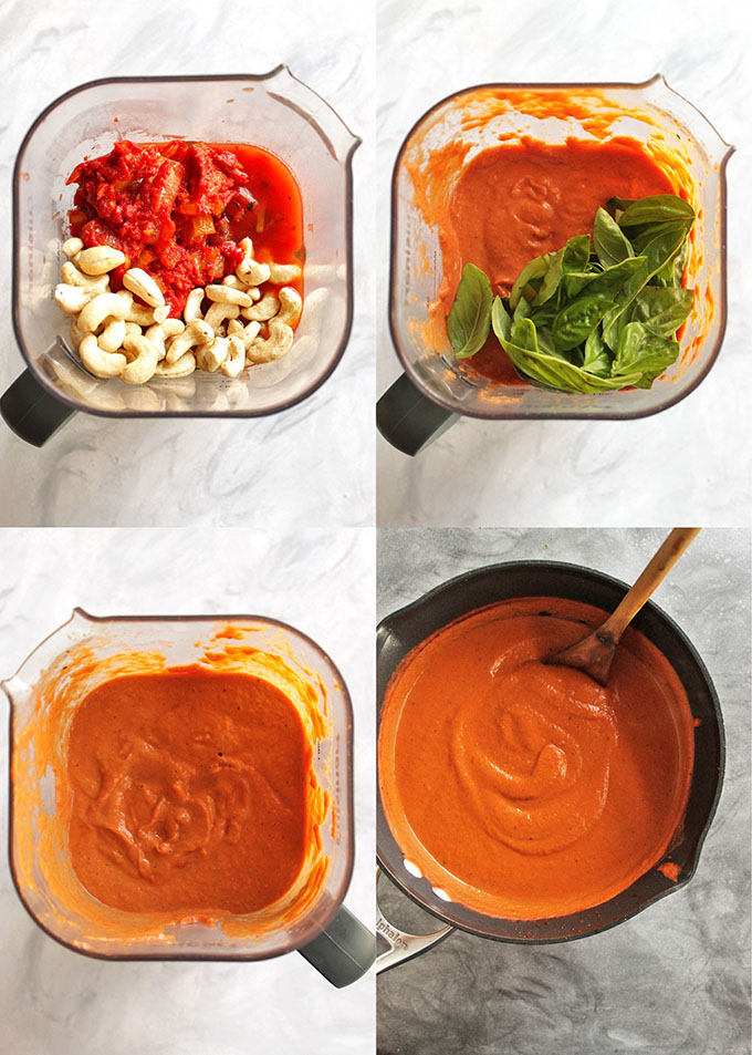 15 Minute Creamy Tomato Basil Soup is thick, creamy, and bursting with tomato and basil flavor. It only requires 8 simple ingredients and 15 minutes to make. It's the perfect fall/winter meal or side. So comforting and tasty! Also great for weeknight meals and freezes well. (Gluten Free, Vegan, Vegetarian, Dairy Free) | robustrecipes.com