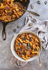 Gluten Free Pumpkin Pasta with Sausage and Crispy Fried Sage