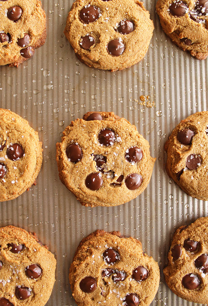 Soft Chocolate Chip Cookies (Gluten Free) - The ultimate soft chocolate chip cookie recipe. Perfectly fluffy, tender and studded with dark chocolate chips and topped with flaked sea salt. So YUM! (Gluten Free/Dairy Free) | robustrecipes.com