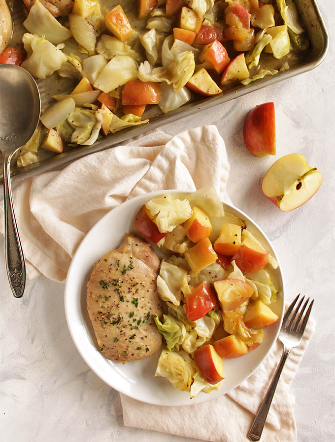 Maple Dijon Marinated Pork Chops with Apples and Cabbage