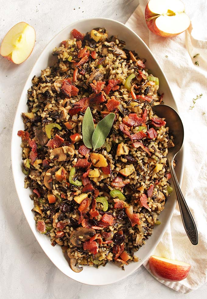 Wild Rice Mushroom Stuffing with Bacon