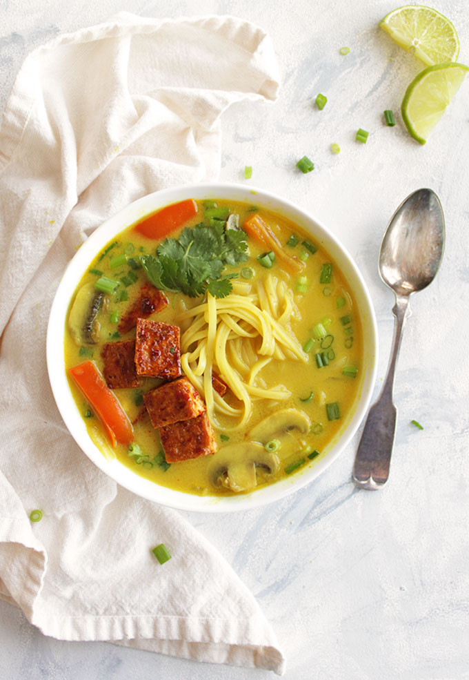 Thai Curry Soup with Crispy Tofu