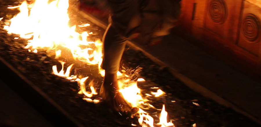bare foot walking on fire