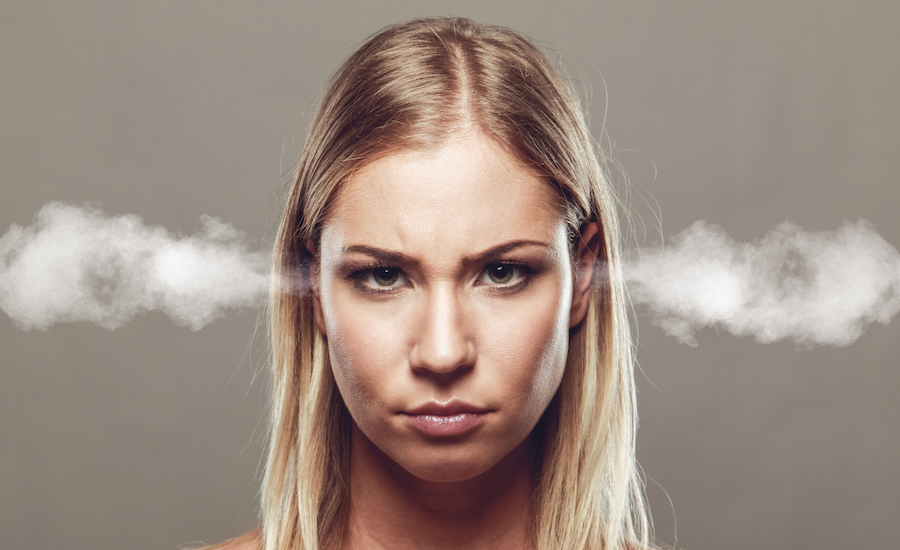 angry woman with steam coming out of ears