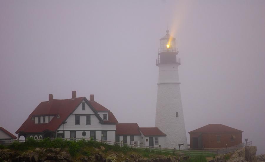 lighthouse in fog