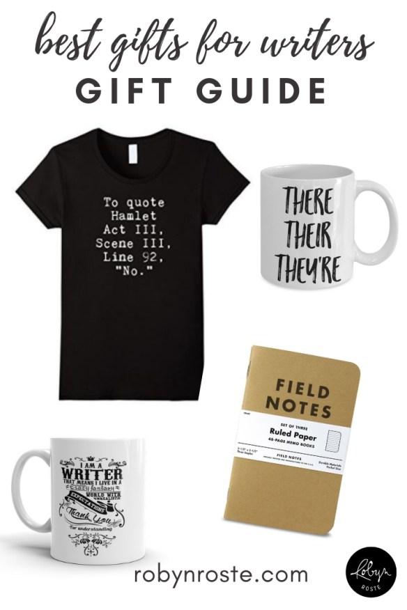 Gifts for writers are fairly straightforward. Literary-themed beverage containers and office wear as well as the obvious notebooks should keep them happy.