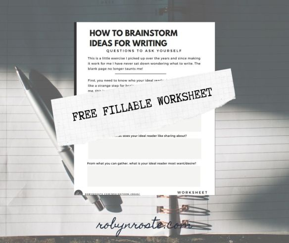 Brainstorm Ideas for Writing Worksheet