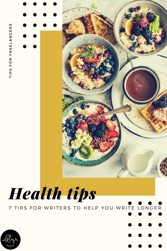 This quick list of health tips for writers is the result of an instrumental change I made, which has made a huge difference in my life and career.   I reached a point in my writing life where I realized being good at writing wasn't going to be enough to have a substantial career if I wasn't healthy enough to sit at the computer to, you know, write all day.