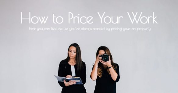 How to Price Your Work Course promotion. Two women are in the photo in front of a grey background. The women on the left (Robyn Roste) is looking at a blue notepad with pursed lips. The woman on the right (Jennifer Pinkerton) is holding a DSLR camera up to her face and pointing her camera at the camera taking the actual photo.