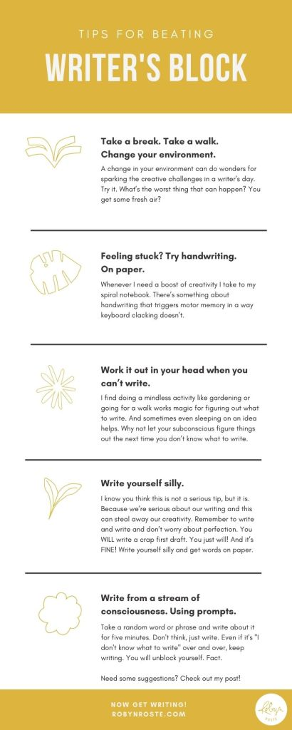 Tips for beating writer's block: change your environment, write on paper, work it out in your head first, write yourself silly, use writing prompts. WAY more detail in the post, check it out!
