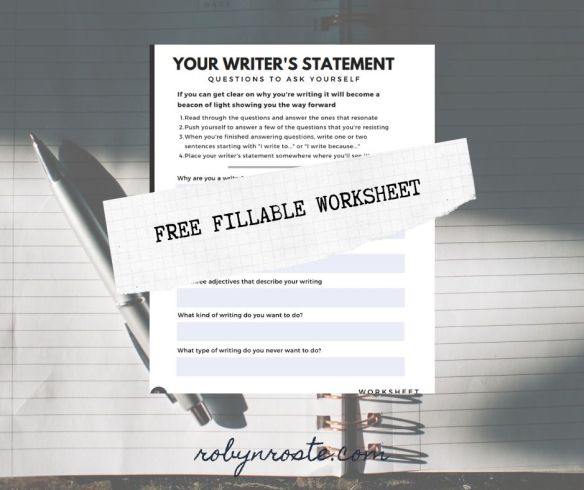 Your Writer's Statement Free Fillable Worksheet
