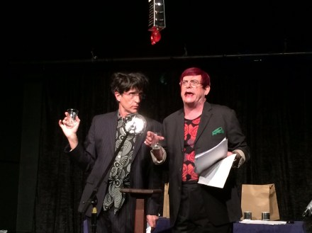 Rita Haywire (Robert Colman) and Lana Turna-me-over (Robert Whitehead) giving it stick in their spoofed up radio-drama, Gross Indecency. Photograph courtesy POP Arts.