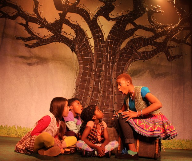 Telling it to the kids: Mamohato Askew with Paige Schmidt, Boitumelo Phaho and Nandipha Backler. Photograph supplied.