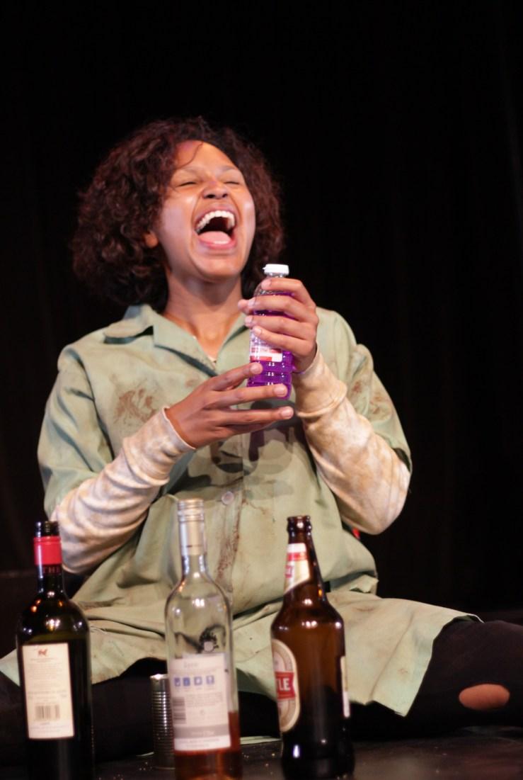 Sweet drunk: Kelly Eksteen embraces the stereotypes of Colouredness at full throttle. Photograph courtesy Leonie Ogle.