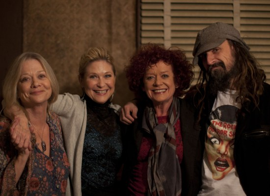 Judy Geeson, Dee Wallace, Pat Quinn and Rob Zombie hanging on set of Lords of Salem