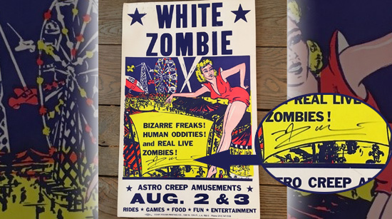 White Zombie Electric Head poster signed by Rob Zombie
