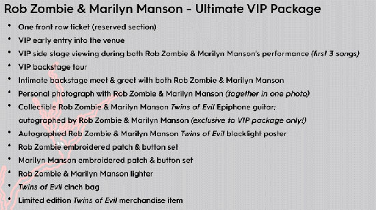 Rob Zombie Marilyn Manson Twins of Evil Te Second Coming VIP Meet and Greet