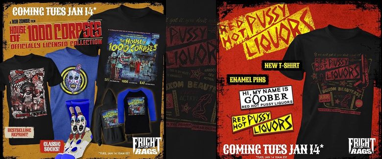 Rob Zombie Frightrags House of 1000 Corpses clothing range 2020