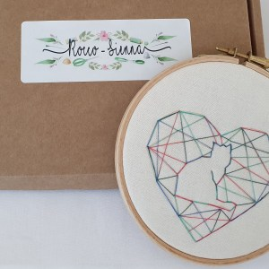 Geometric love heart with kitty