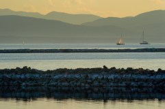 Breakwaters at sunset on Lake Champlain.