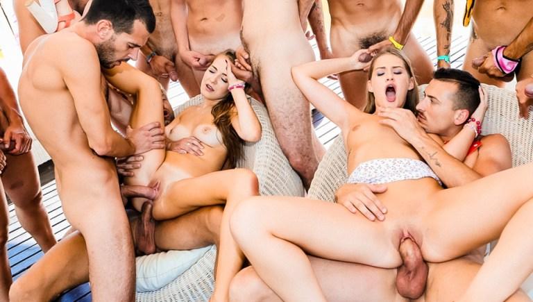 14 Cocks + 2 Sluts = Gangbang/DP Orgy!