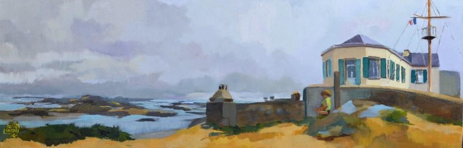 Les Iles Chausey, le sémaphore, huile sur toile 25X75cm