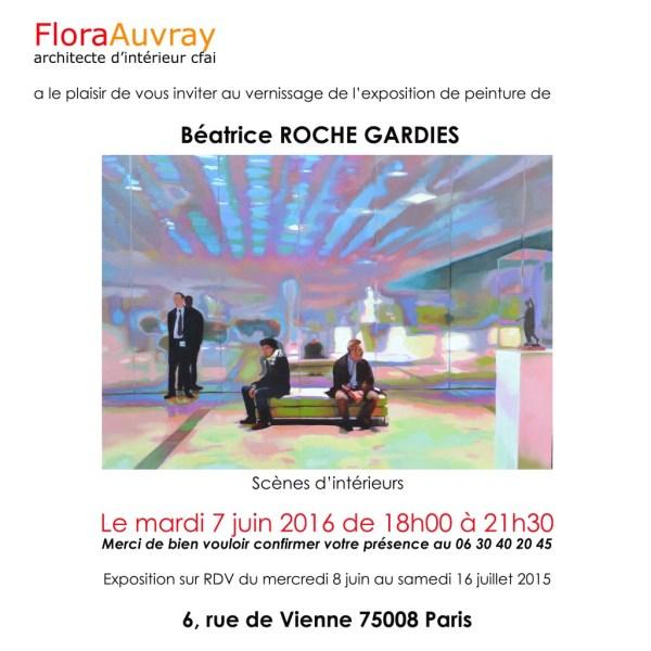 ©RocheGardies peintre .Invitation vernissage  chez Flora Auvray7 juin 16