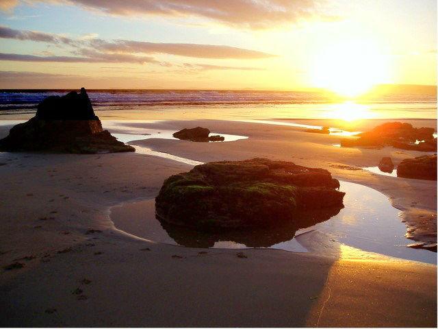 Newgale beach at sunset