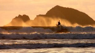 Surfing at Newgale
