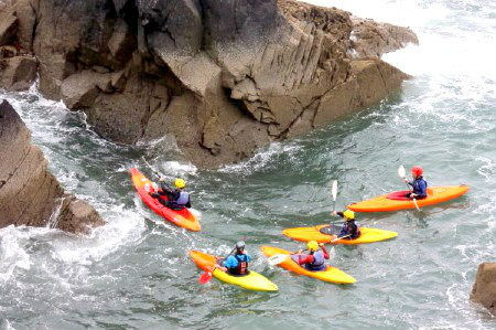 Canoeing in Ramsey Sound near St Davids and Solva, Pembrokeshire Coast National Park, South West Wales