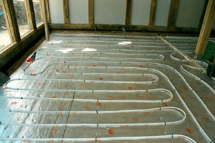 Underfloor heating pipes in the garden room at Roch Mill providing eco friendly heating. Located near Solva, St Davids and Newgale, Pembrokeshire Coast National Park, South West Wales