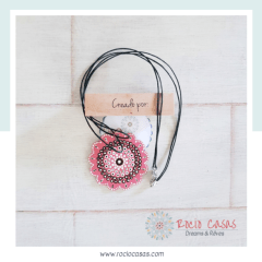 Collar Boho flor rosa y chocolate